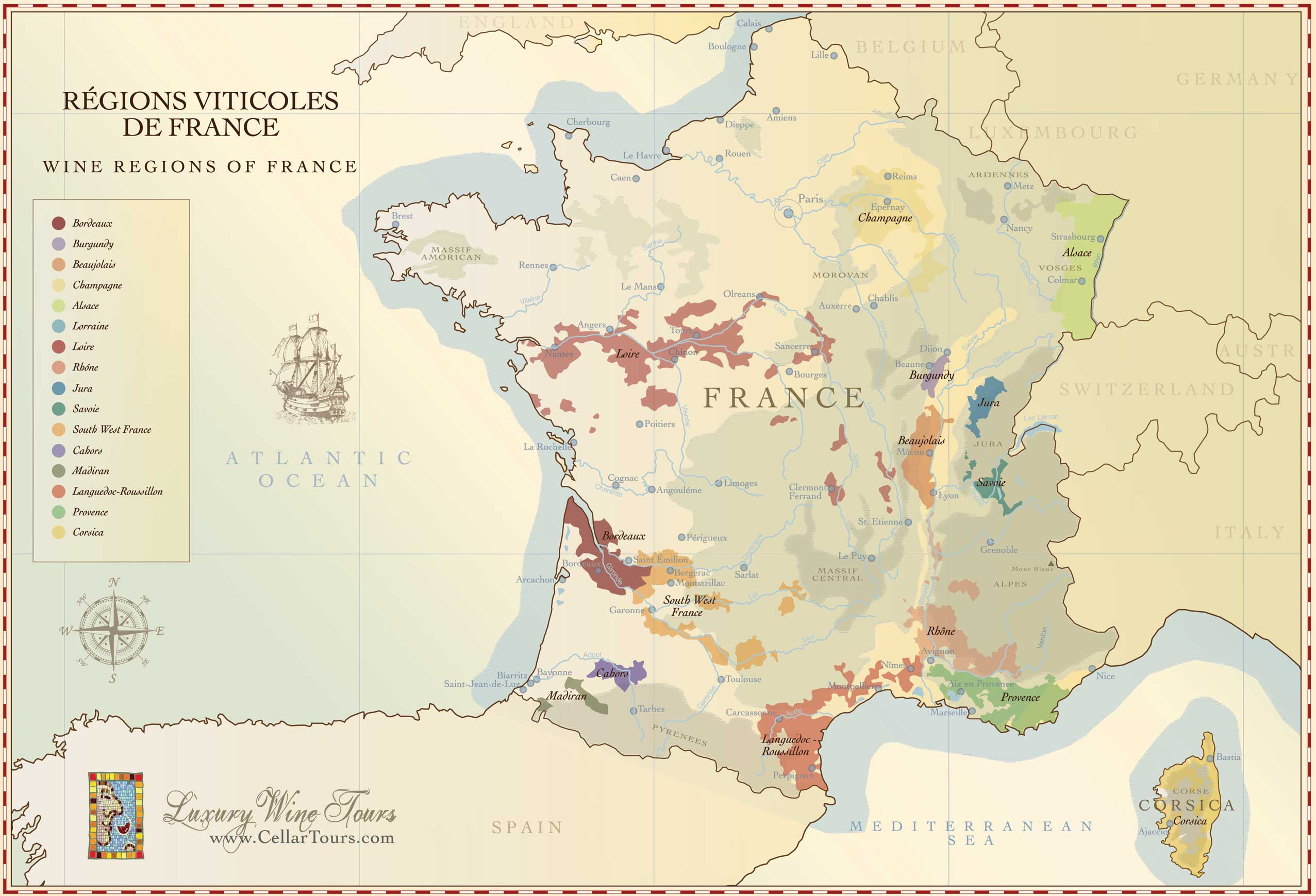 France wine regions map zoom un buen vino gumiabroncs Image collections